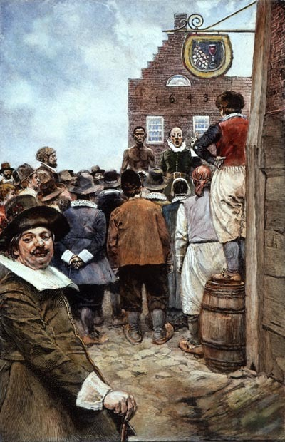 Painting of Dutch colonials' involvement in the African slave trade.