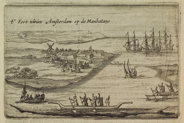 1651 Depiction of Fort Amsterdam and the surrounding New Amsterdam colony along with European ships and the indigenous people of the region.