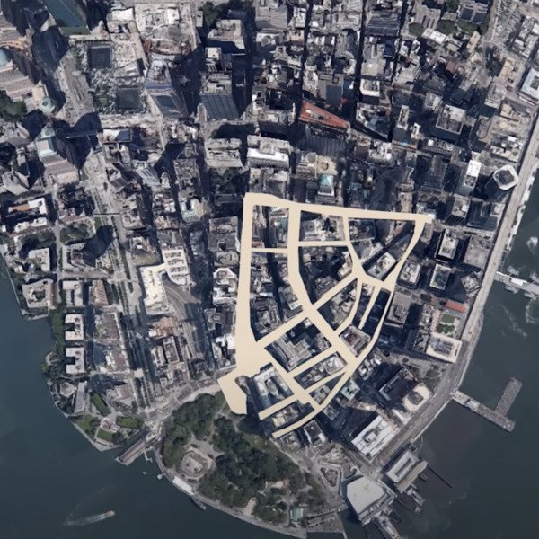 New Amsterdam highlighted within present-day Lower Manhattan.
