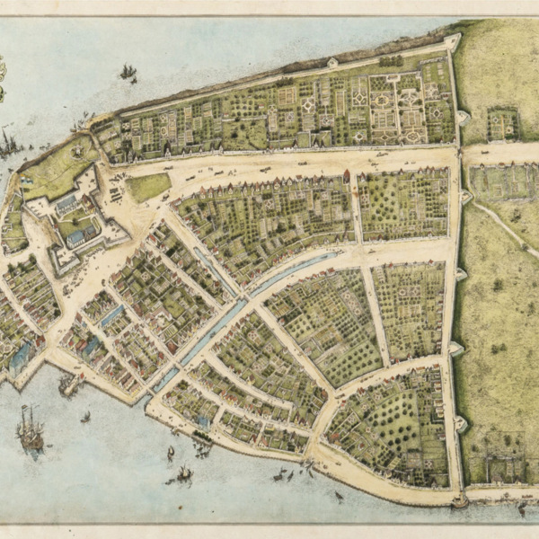 Redrawing of the 1660 Castello Plan of New Amsterdam.