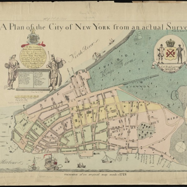 The Bradford Plan: An early survey map of New York in 1730 under British control (A plan of the city of New York from an actual survey.)